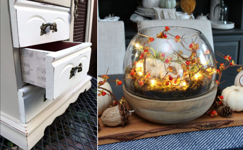 Light up fall terrarium how to decoupage wood drawer sides