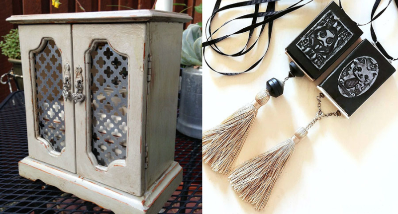 Matchbook necklaces with tassels jewelry box makeover