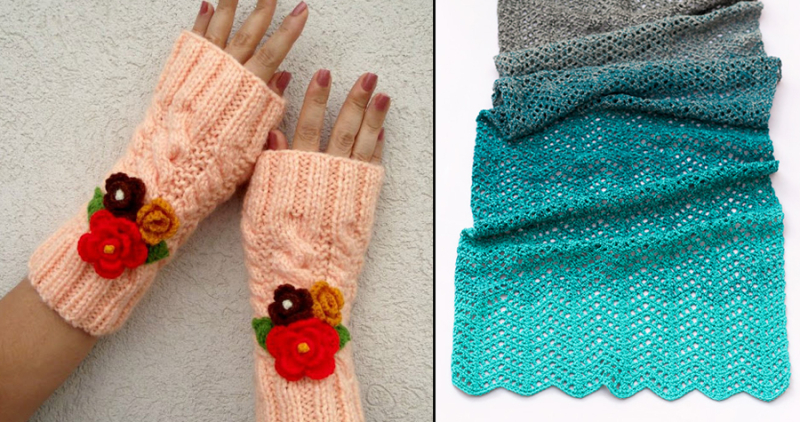 Chevron stitch one skein scarf knit wrist warmers with crocheted flowers