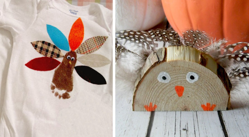 Footprint turkey baby onsie wood slike turkey craft
