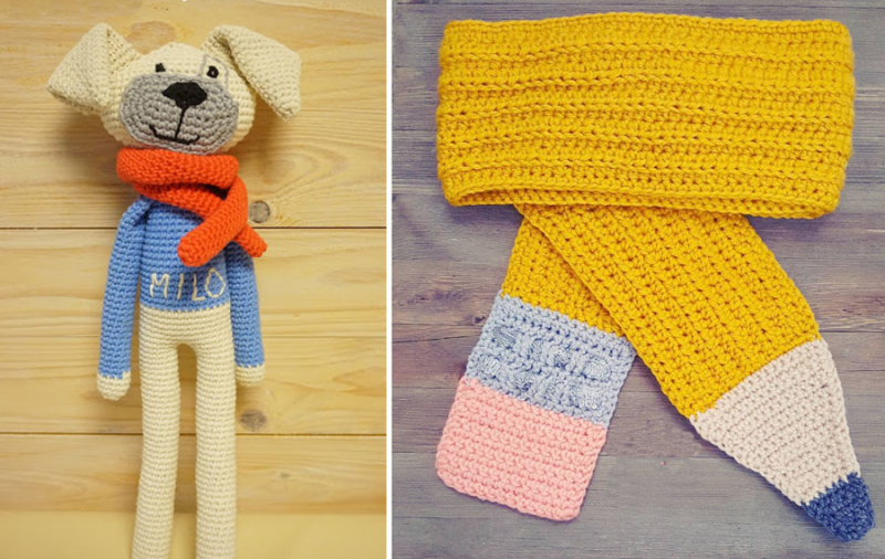 Crocheted pencil shape scarf crocheted dog with long legs