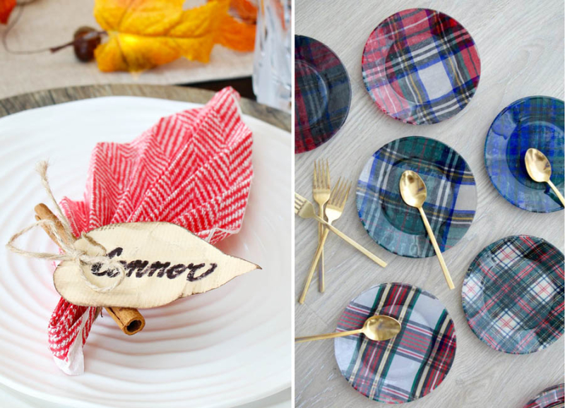 DIY plaid decoupage fabric plates leaf shaped napkin fold