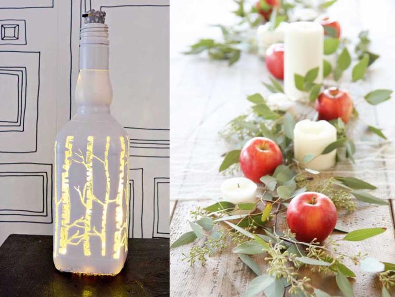 Apples and leaves centerpiece liquor bottle light