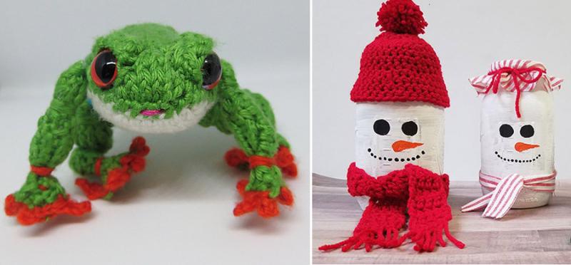 Mason jar snowmen knit frog