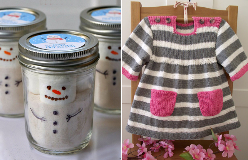 Mason jar melted snowman hot chocolate knit striped toddler dress