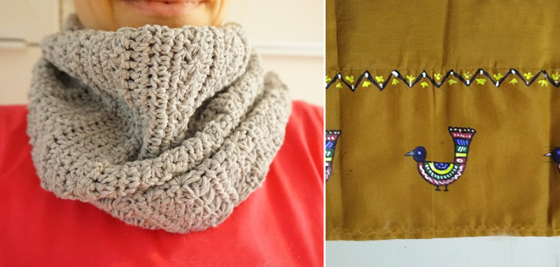 Crocheted triangular scarf hand painting on Indian dress