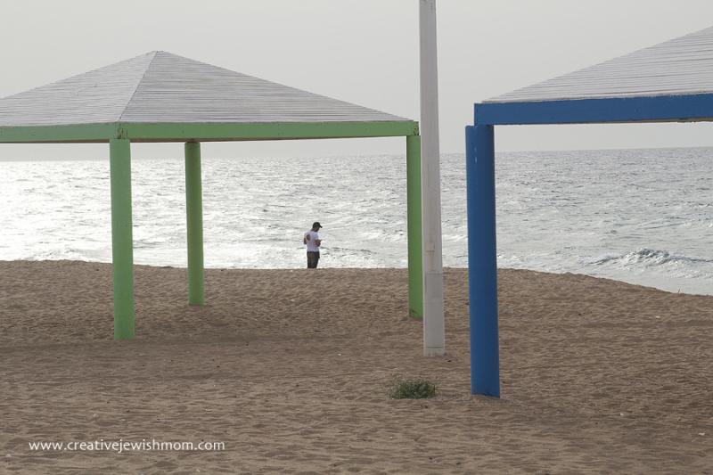 Nahariya Beach Winter With Sun Cabanas