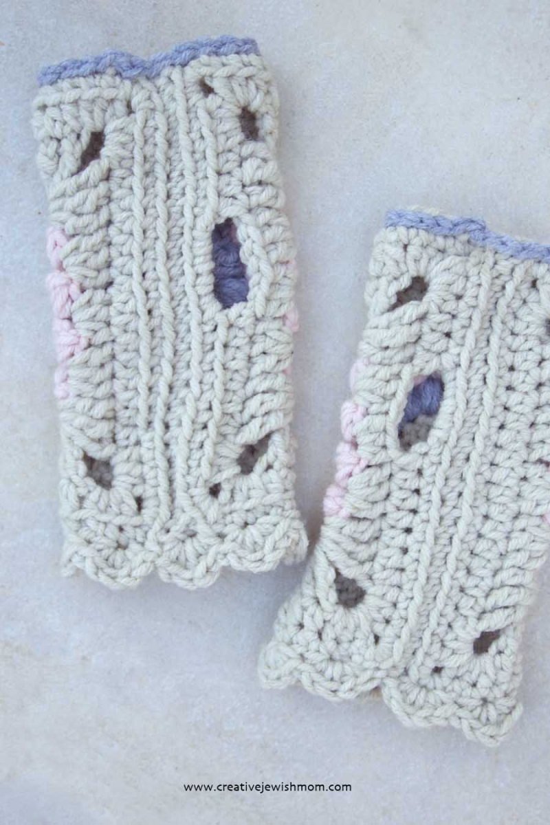 Crocheted Granny Square Wrist warmer pattern