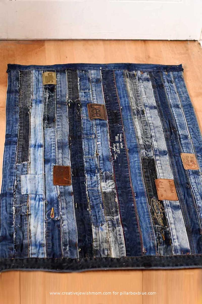 DIY denim rug from old jeans