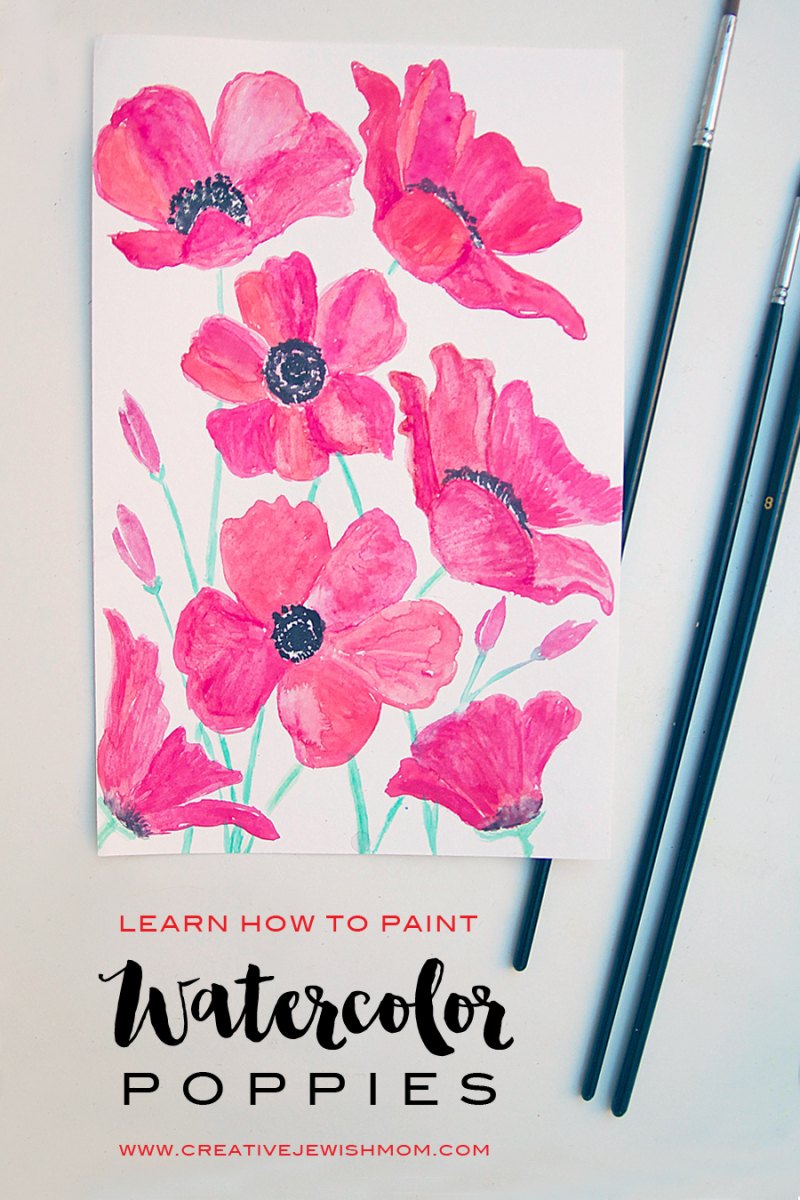 Watercolor poppies how to paint