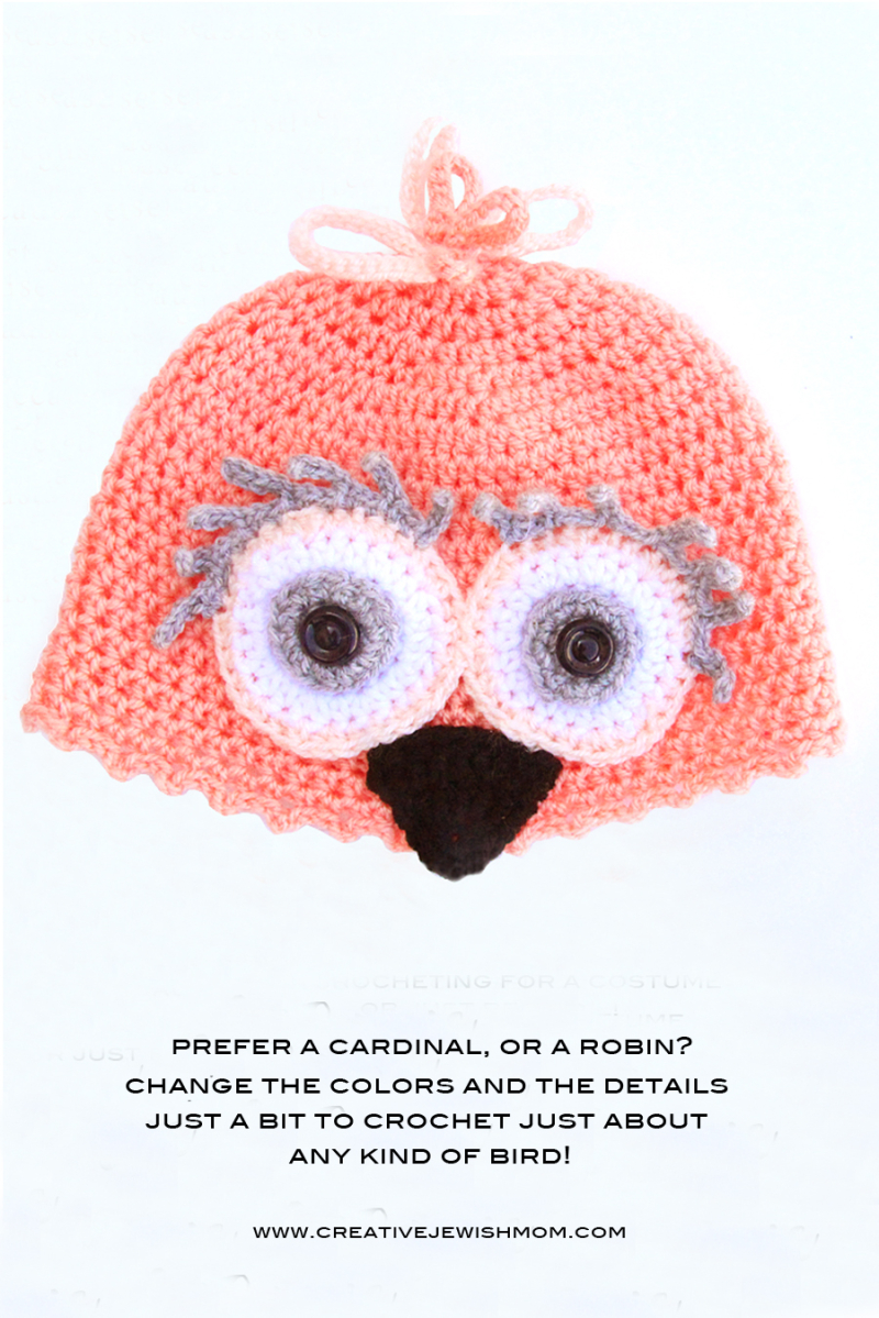 Crocheted Bird Hat Cardinal  Canary  Robin