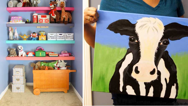 DIY cow painting DIY shelves in niche for kid's toys