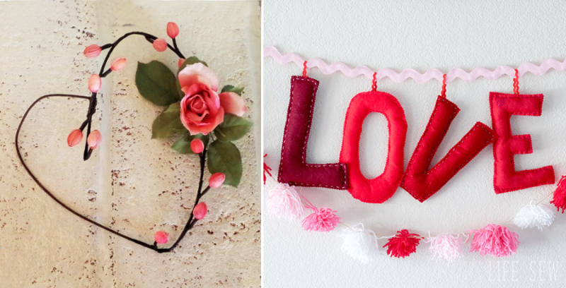Stuffed felt love letters heart shaped simple wreath