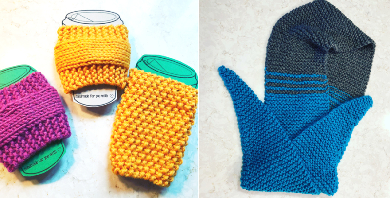 Knit coffee cup cozies knit scarf with points