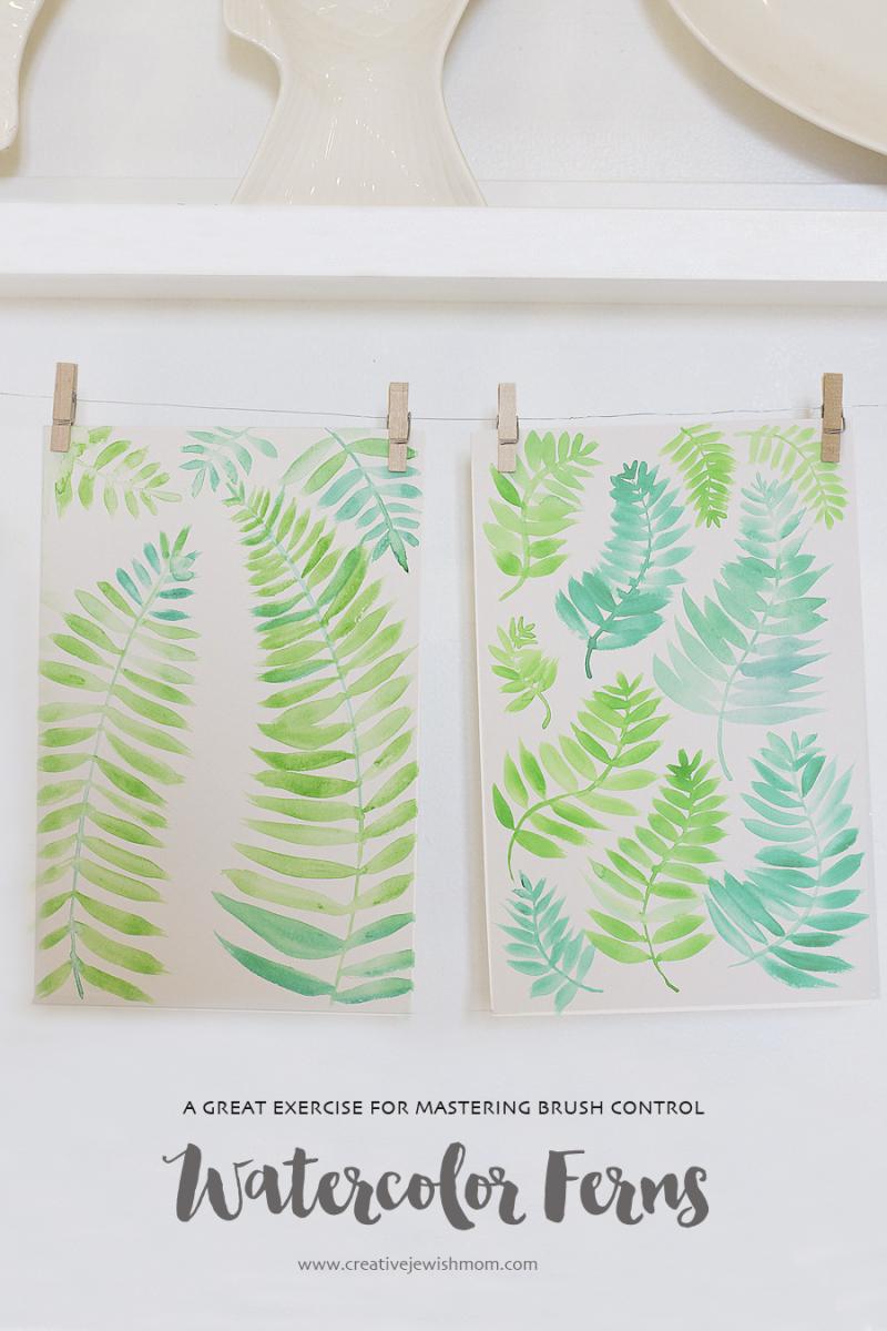 Watercolor Ferns DIY Brushstroke Practice