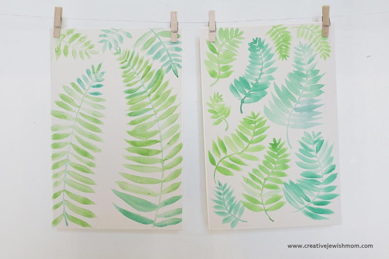 Watercolor Fern simple painting to practice leaves