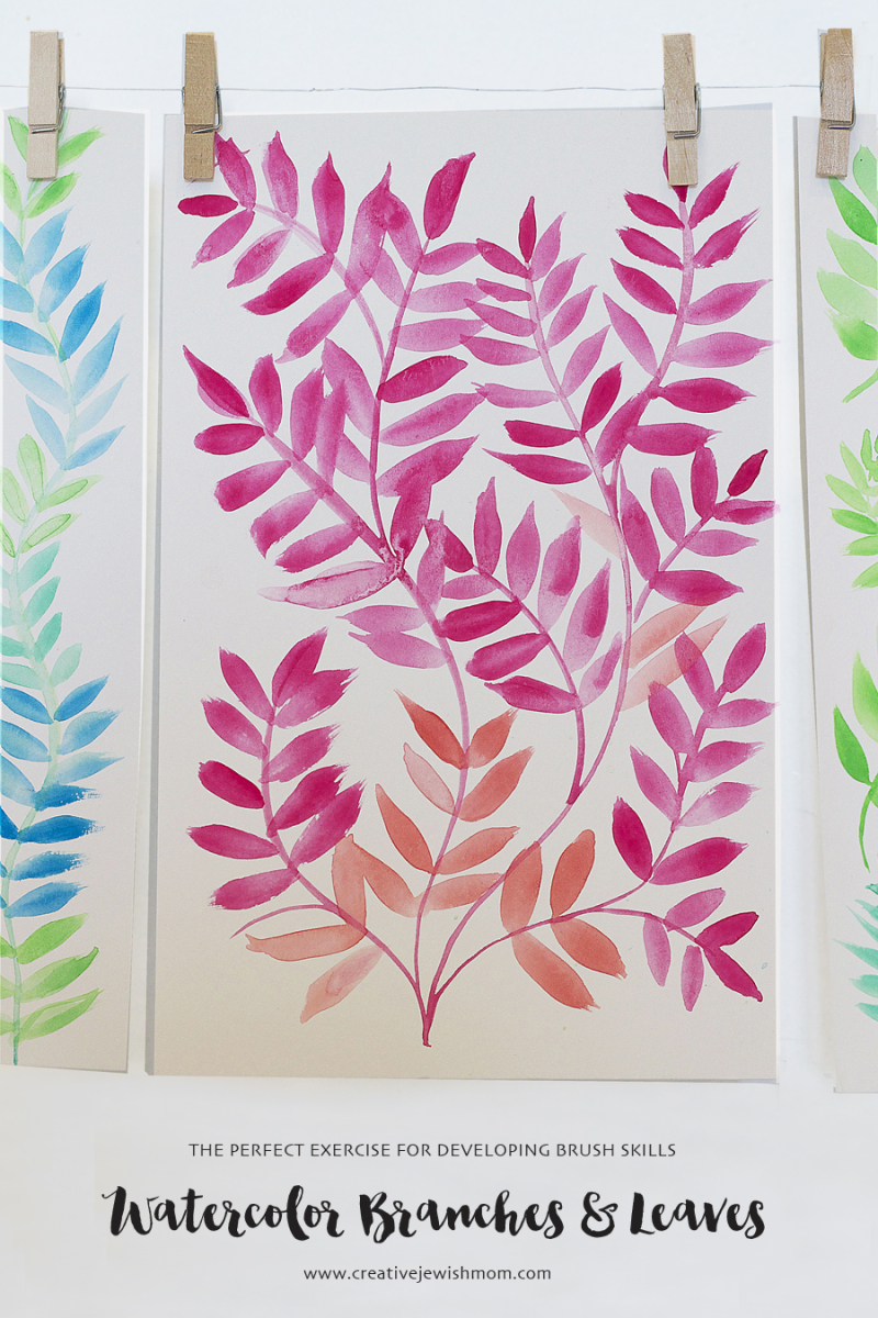 Watercolor branches with one stroke leaves