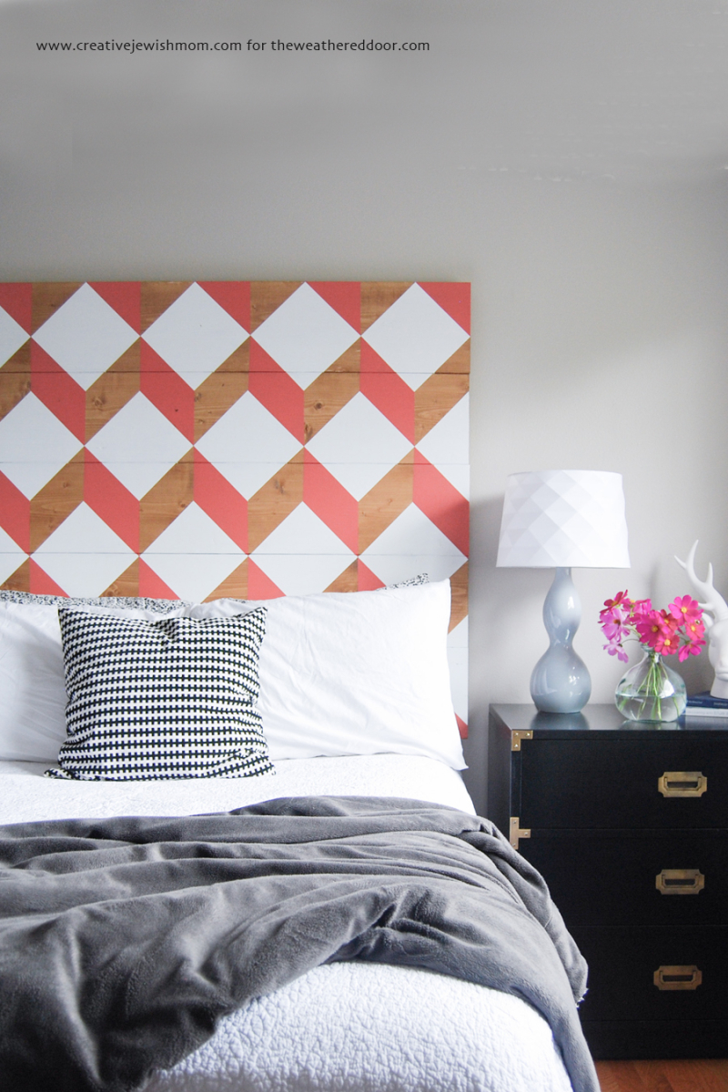 DIY painted geo cubes headboard
