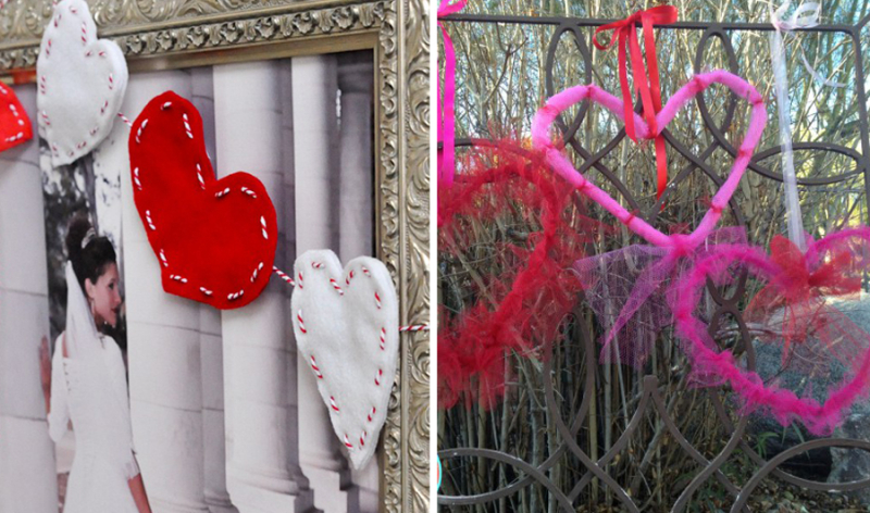 Felt heart garland crinoline wrapped wire hearts