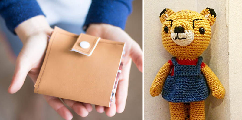 DIY kids wallet crocheted cheetah