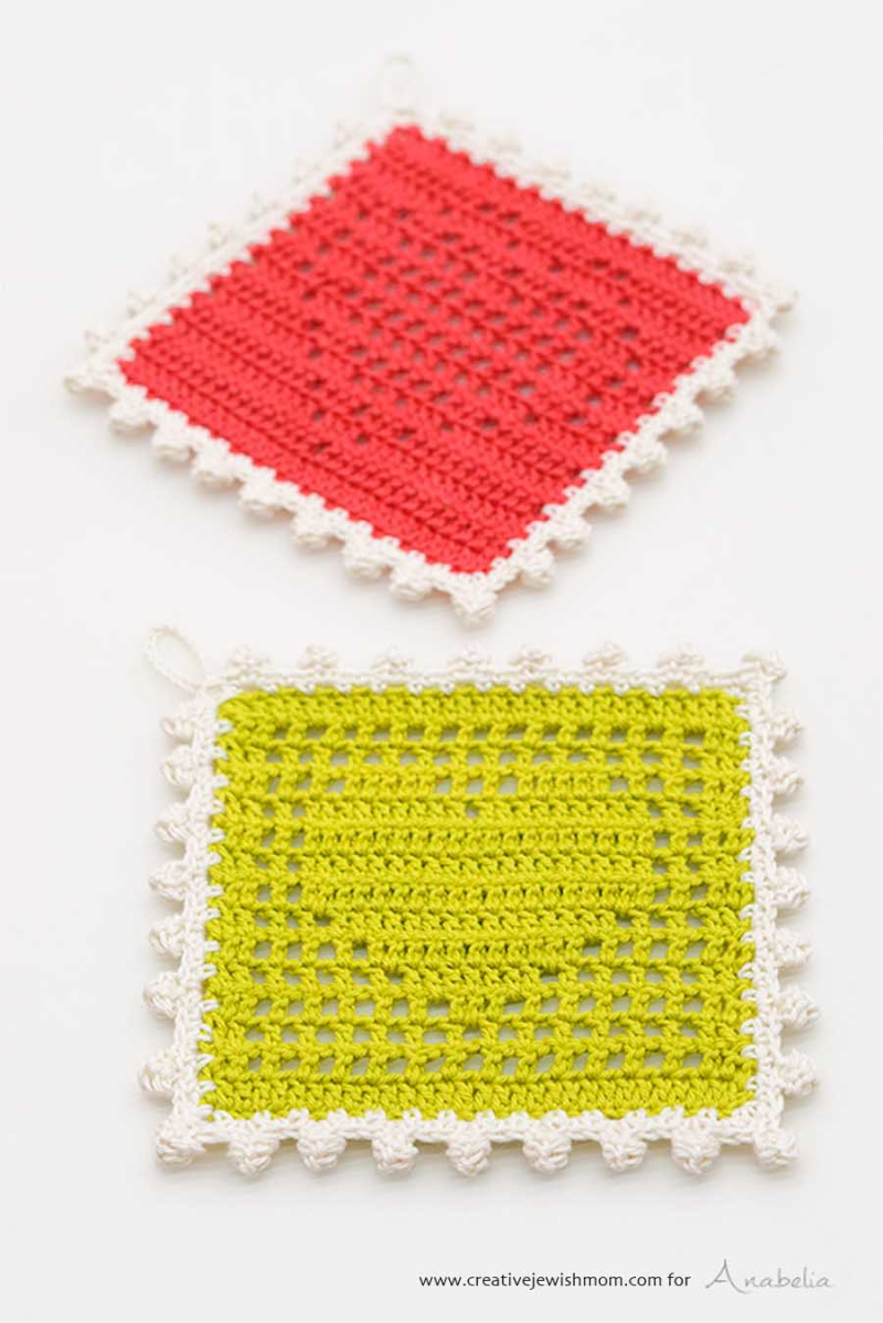 Filet crochet heart potholder
