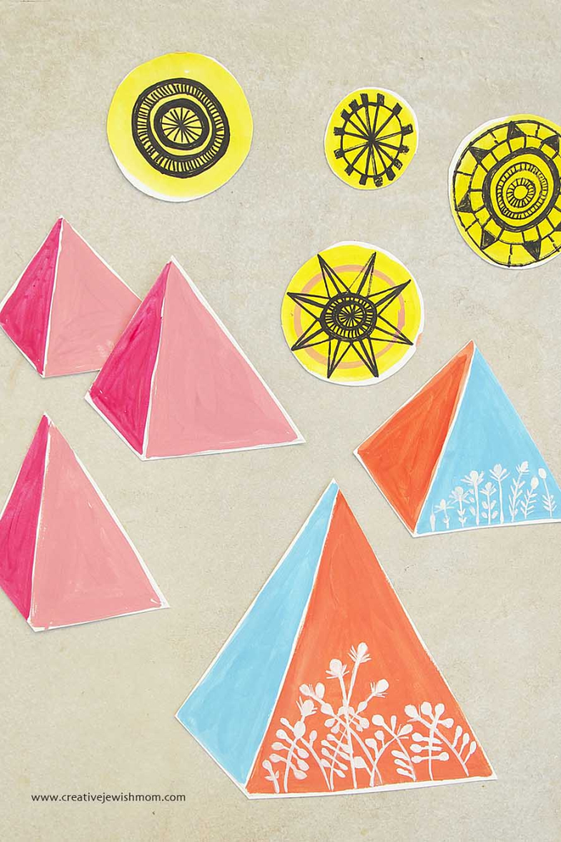 Painted Pyramids Bright Colors Craft
