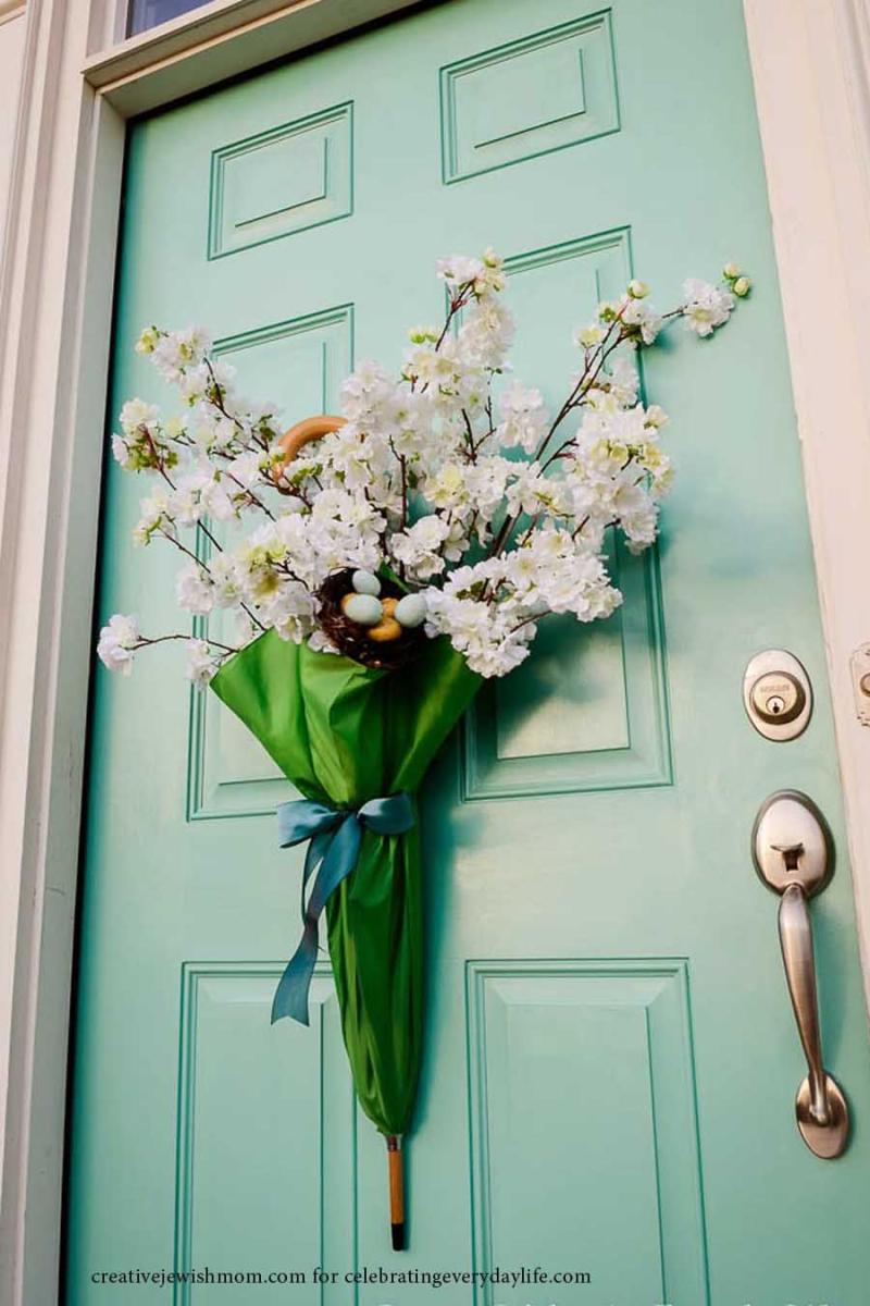 Umbrella and flowers spring door wreath