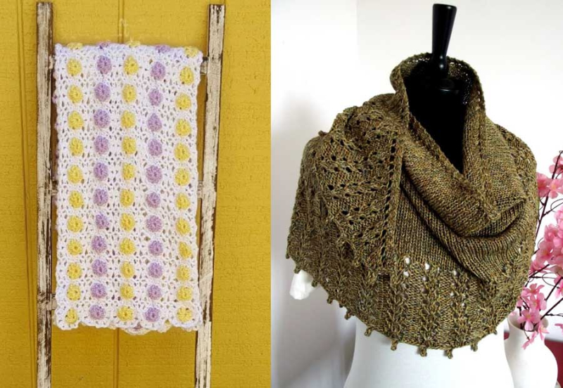 Knit triangular scarf  crocheted little blooms baby blanket