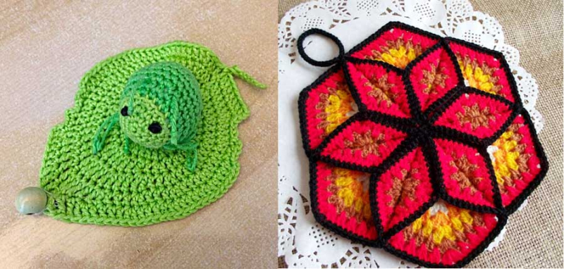 Crocheted dimensional star trivet crocheted aphid on a leaf