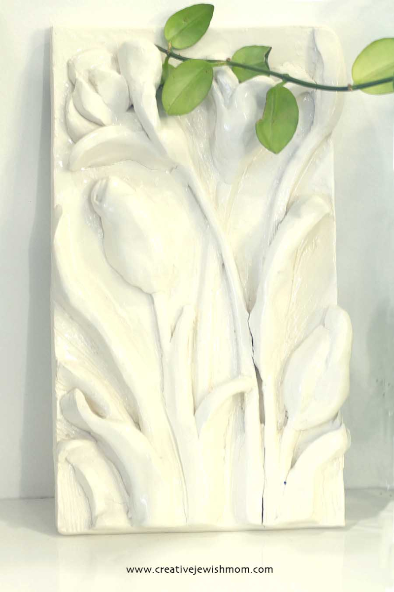 Ceramic Flowers Relief Sculpture Plaque