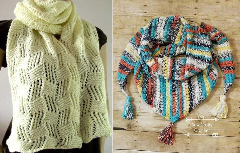 Crocheted triangular scarf with tassels