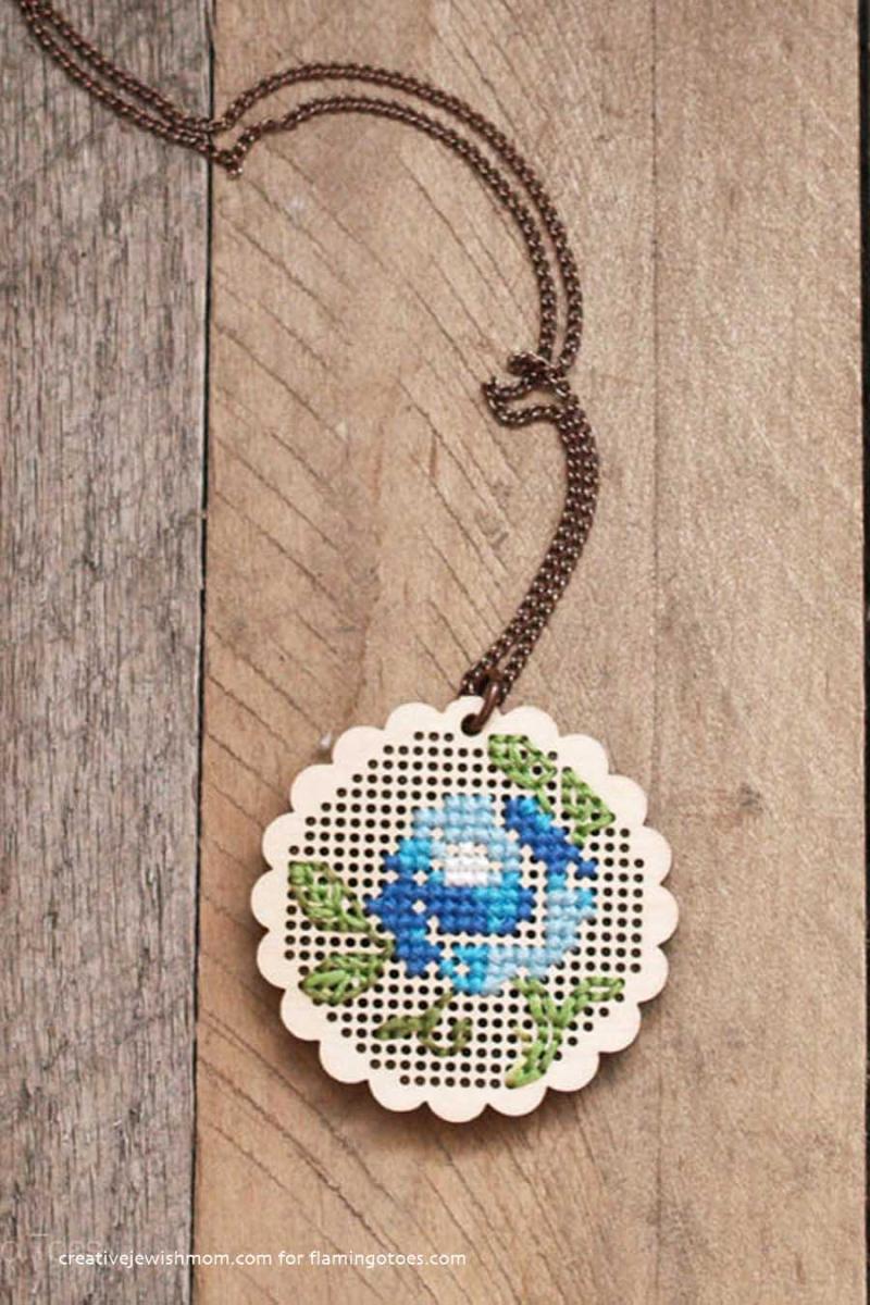 Stitched-Pendant-cross-stitch-on-wood
