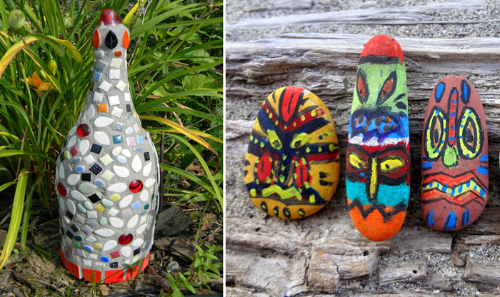 Mosaic bottle garden decor,totem pole painted rocks