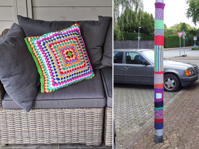 Granny crocheted pillow,yarn bombing on a light post