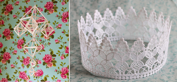 Himmeli mobile, lace birthday crown
