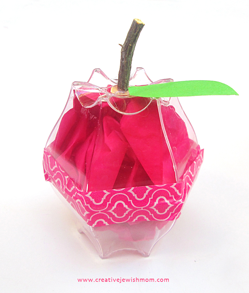 Recycled plastic cup apple with tissue paper