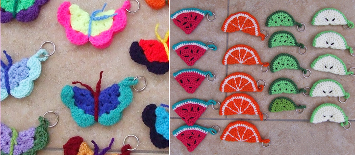 Crocheted butterfly and fruit keyrings