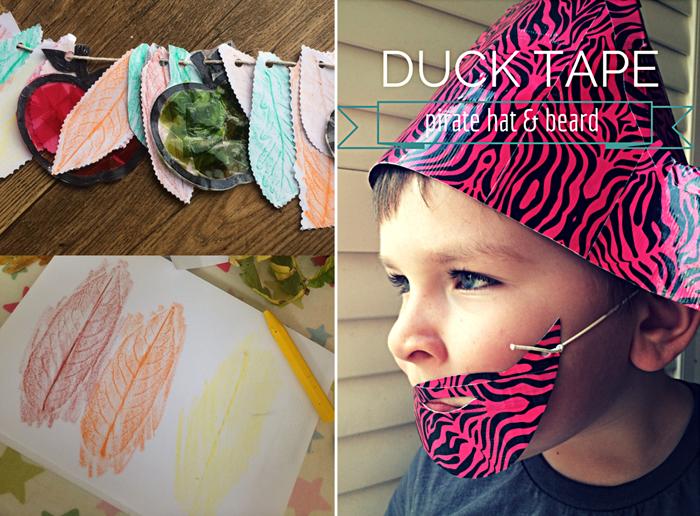 Leave rubbing garland,duck tape pirate hat