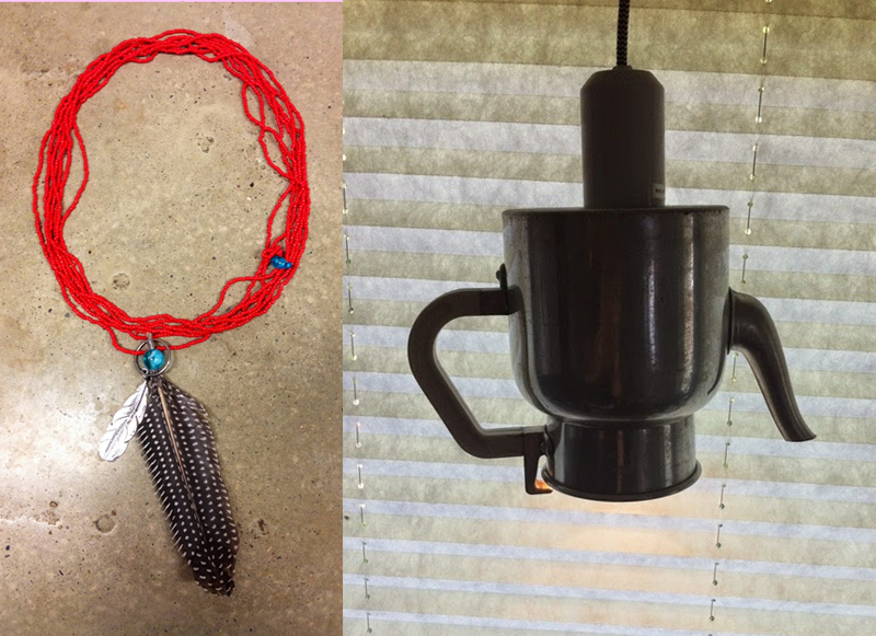Teapot lamp,beaded feather choker