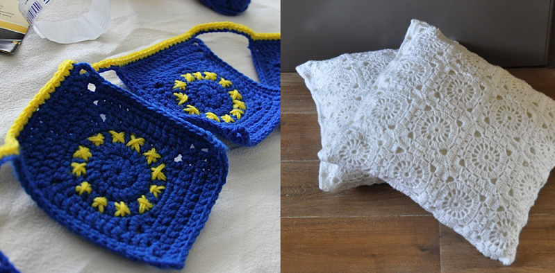 Crocheted flag banner,round granny pillows in white