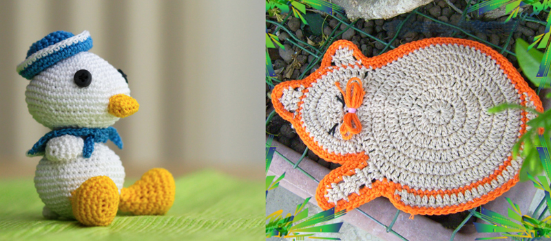 Crocheted sailor duck,crocheted cat place mat