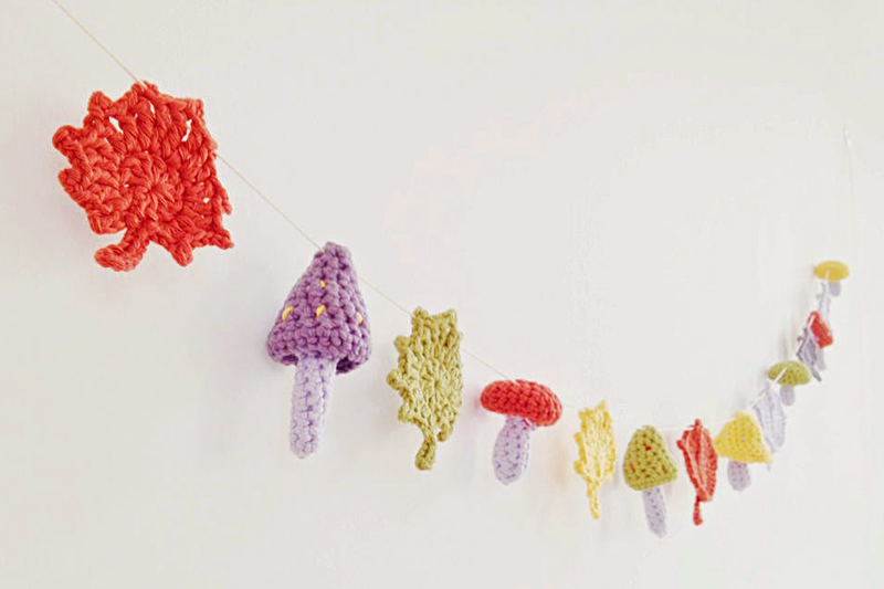 Crocheted Mushroom and fall leaves bunting