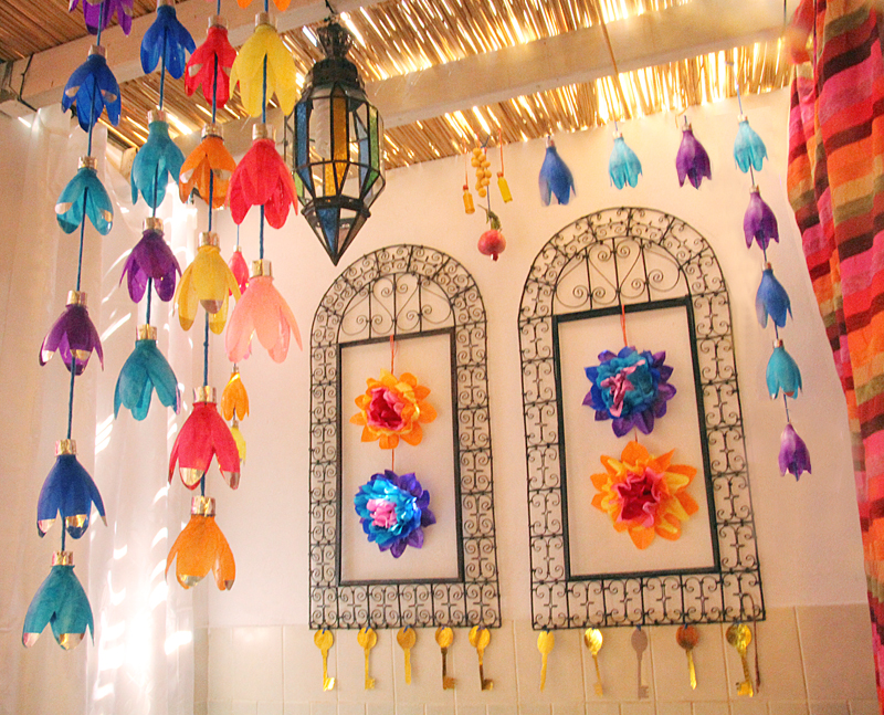 Succah decorations with soda bottles