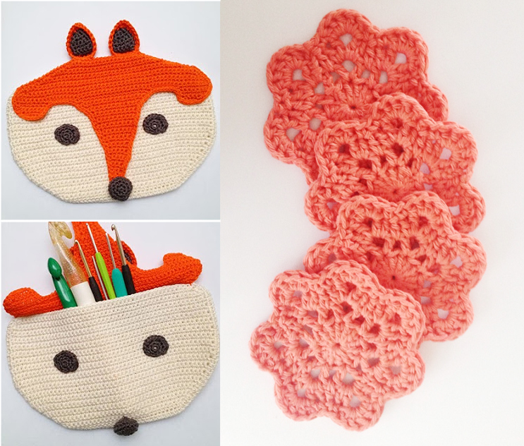 Crocheted fox crochet hook holder, 7point flowers tutorial