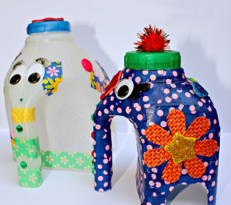 Recycled milk jug elephants kid's craft