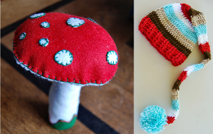 Felt toadstool, crocheted elf hat with pom pom