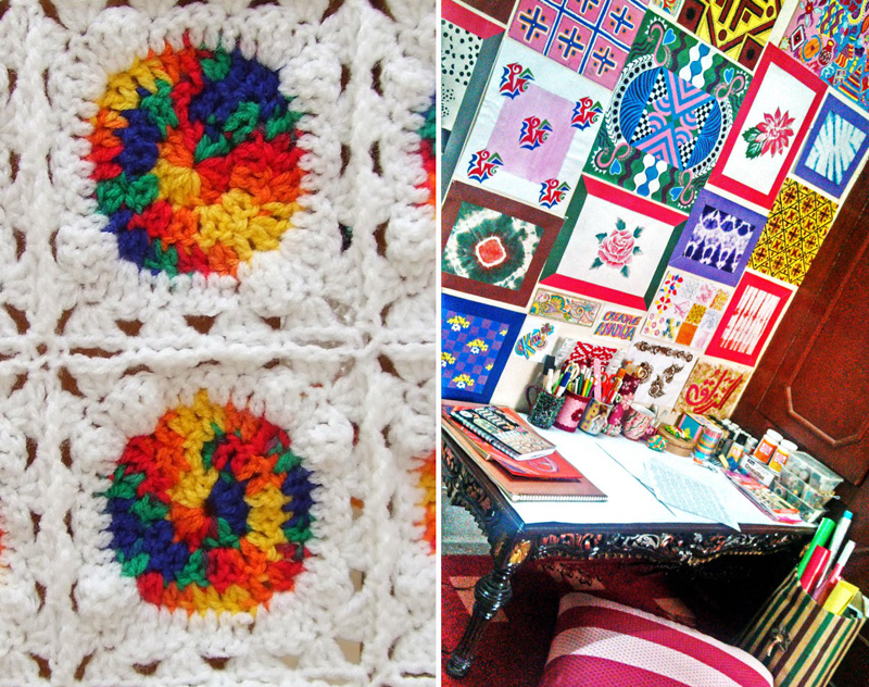 Creative studio wall,crocheted squares with variegated yarn
