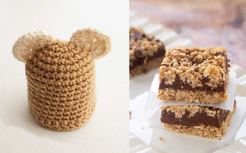 Crocheted drink bottle bear cap,no bake choco peanut butter bars