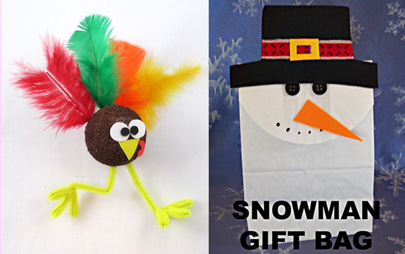 Turkey kid's craft,snowman gift bag