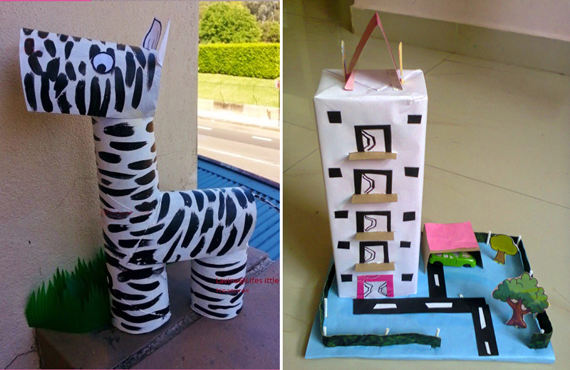 Recycled tp tube zebra,apartment building model from recycled boxes